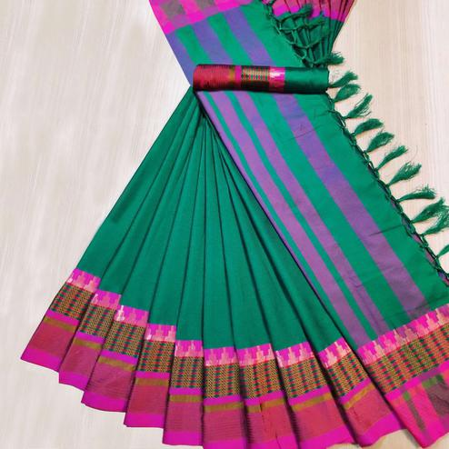 Attractive Turquoise Green Colored Festive Wear Woven Cotton Silk Saree