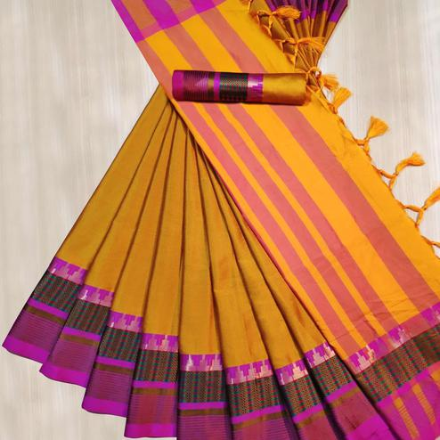 Blooming Mustard Yellow Colored Festive Wear Woven Cotton Silk Saree