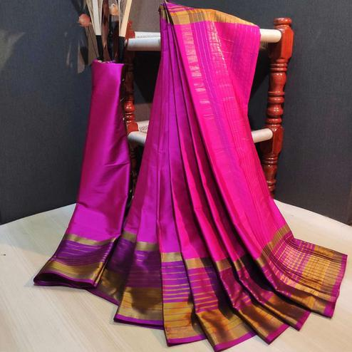 Delightful Pink Colored Festive Wear Woven Cotton Silk Saree