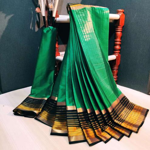 Engrossing Green Colored Festive Wear Woven Cotton Silk Saree