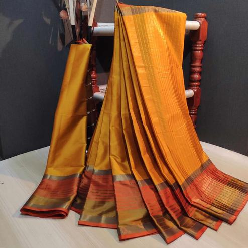Innovative Golden Colored Festive Wear Woven Cotton Silk Saree