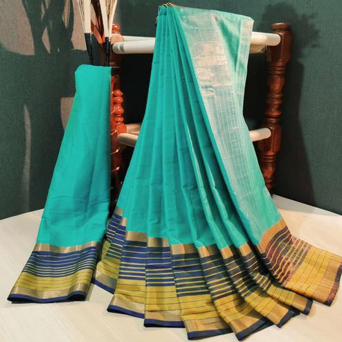 Eye-catching Aqua Blue Colored Festive Wear Woven Cotton Silk Saree
