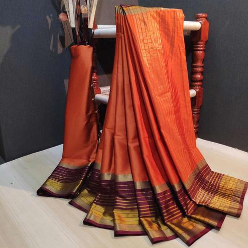 Fantastic Orange Colored Festive Wear Woven Cotton Silk Saree