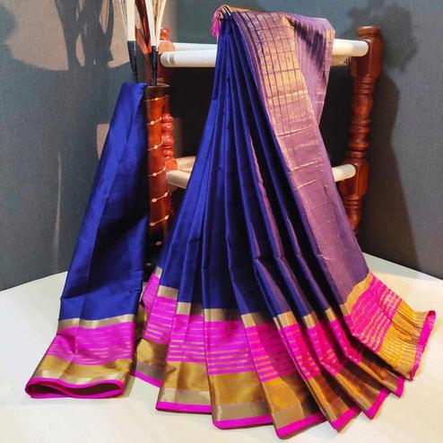 Gorgeous Navy Blue Colored Festive Wear Woven Cotton Silk Saree