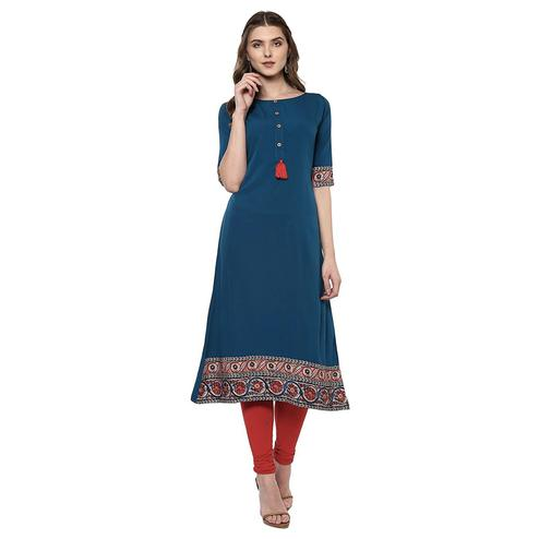 Adorning Sky Blue Colored Casual Printed Crepe Kurti