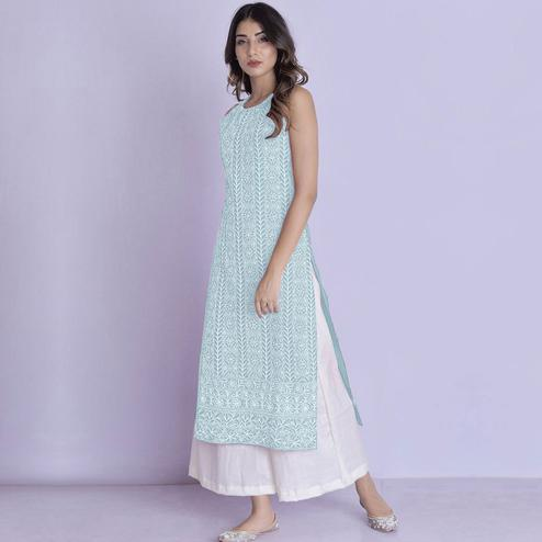 Opulent Light Blue Colored Partywear Embroidered Cotton Palazzo Suit
