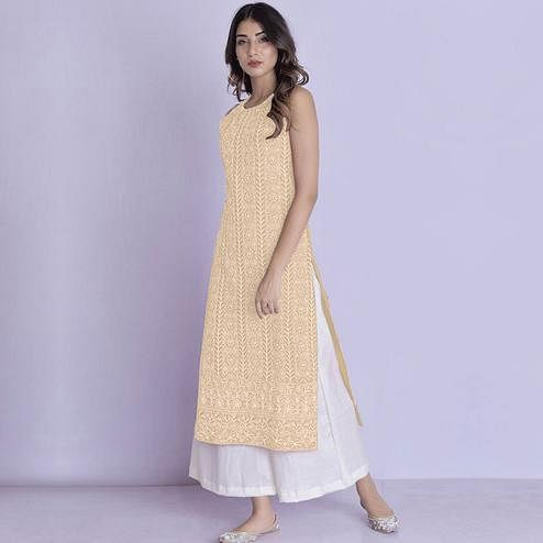 Energetic Yellow Colored Partywear Embroidered Cotton Palazzo Suit