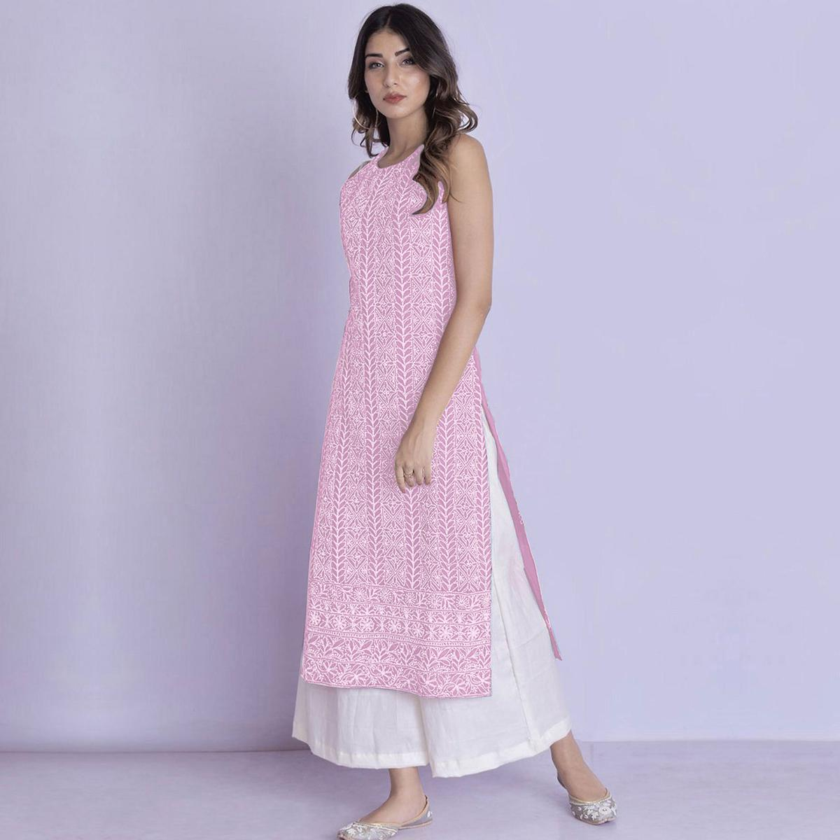 Glowing Light Pink Colored Partywear Embroidered Cotton Palazzo Suit