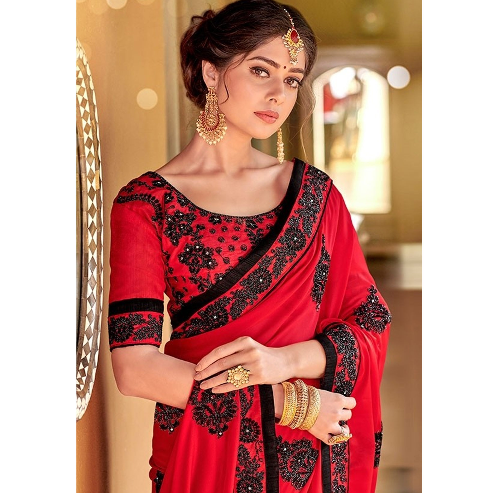Adorable Red Colored Partywear Embroidered Georgette Saree