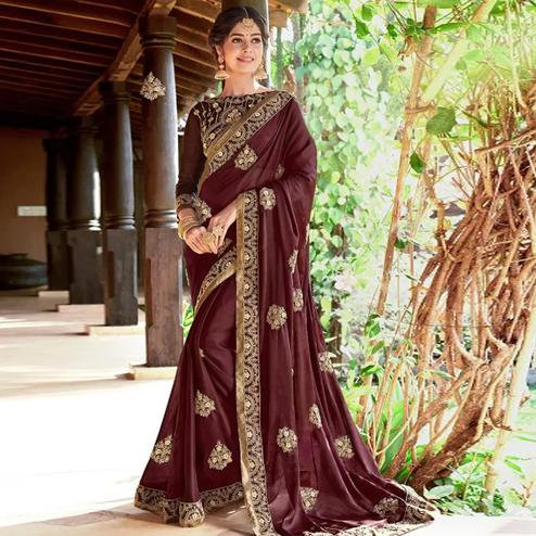 Glorious Coffee Brown Colored Partywear Embroidered Georgette Saree