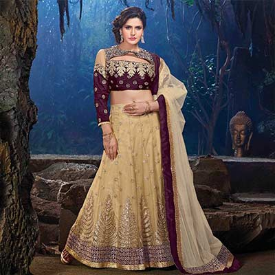 Brown - Tan Silky Net Zarine Khan Lehenga