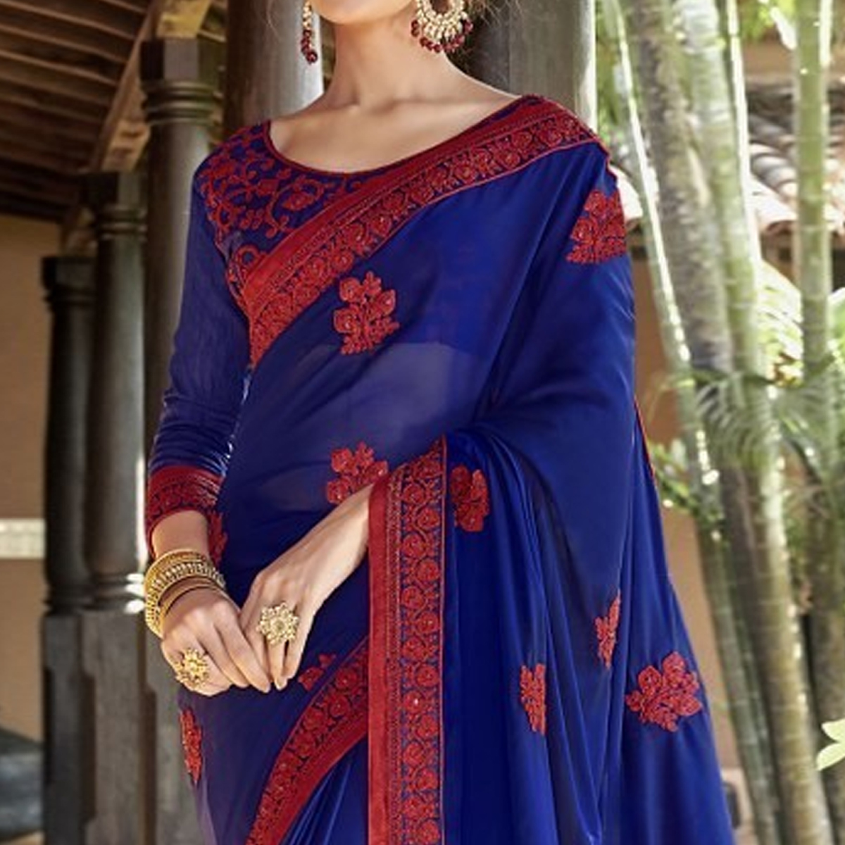 Beautiful Navy Blue Colored Partywear Embroidered Georgette Saree
