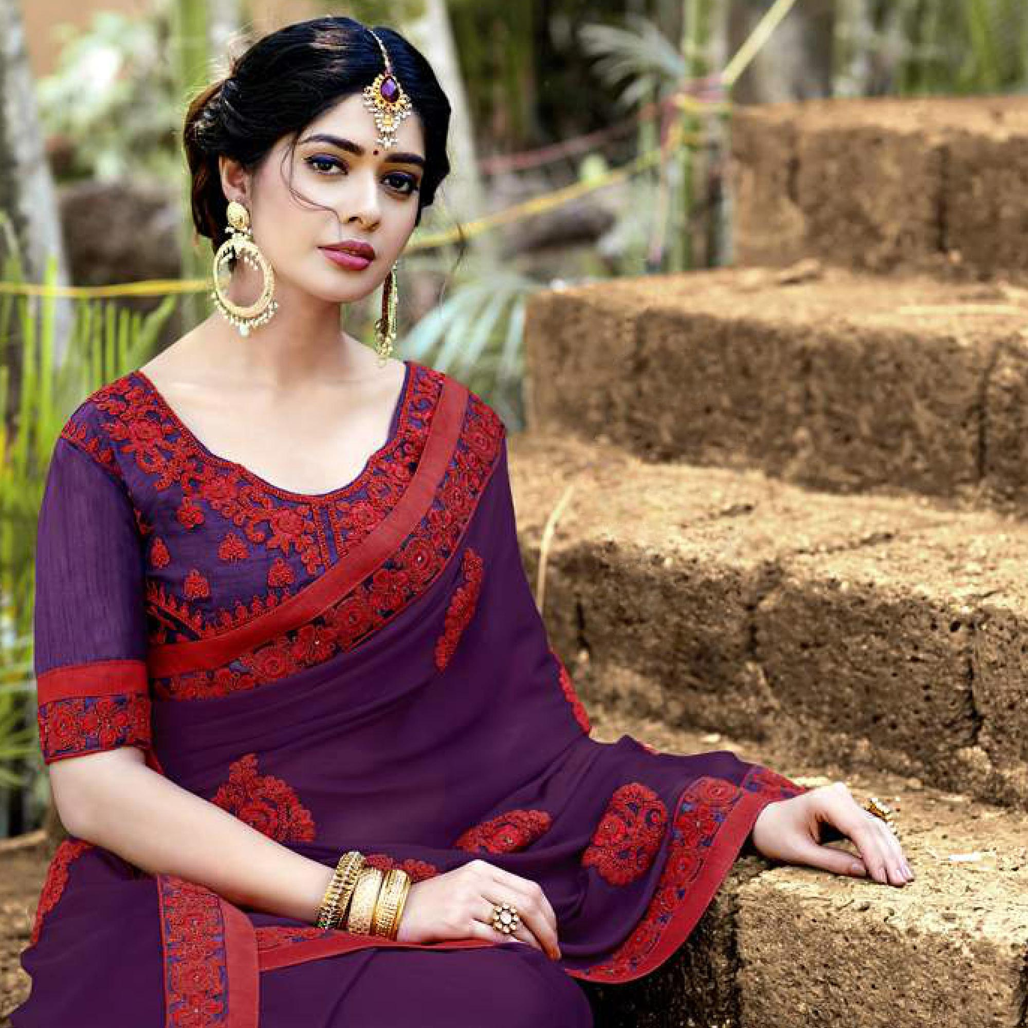 Jazzy Purple Colored Partywear Embroidered Georgette Saree