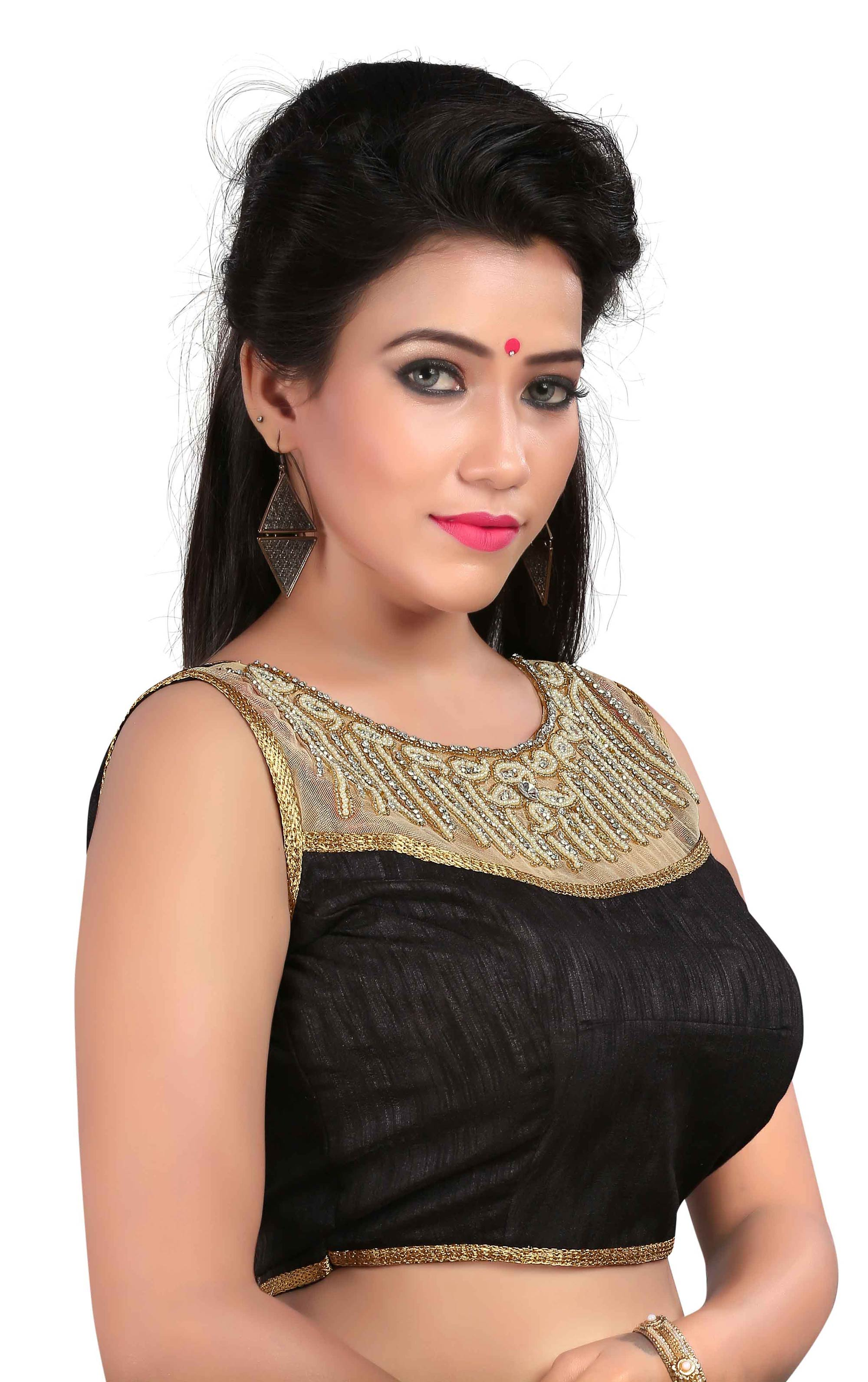 Black Embroidered Stitched Blouse