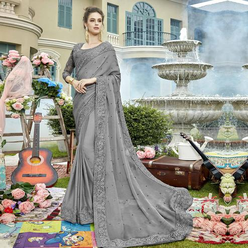 Radiant Gray Colored Party Wear Embroidered Georgette Saree