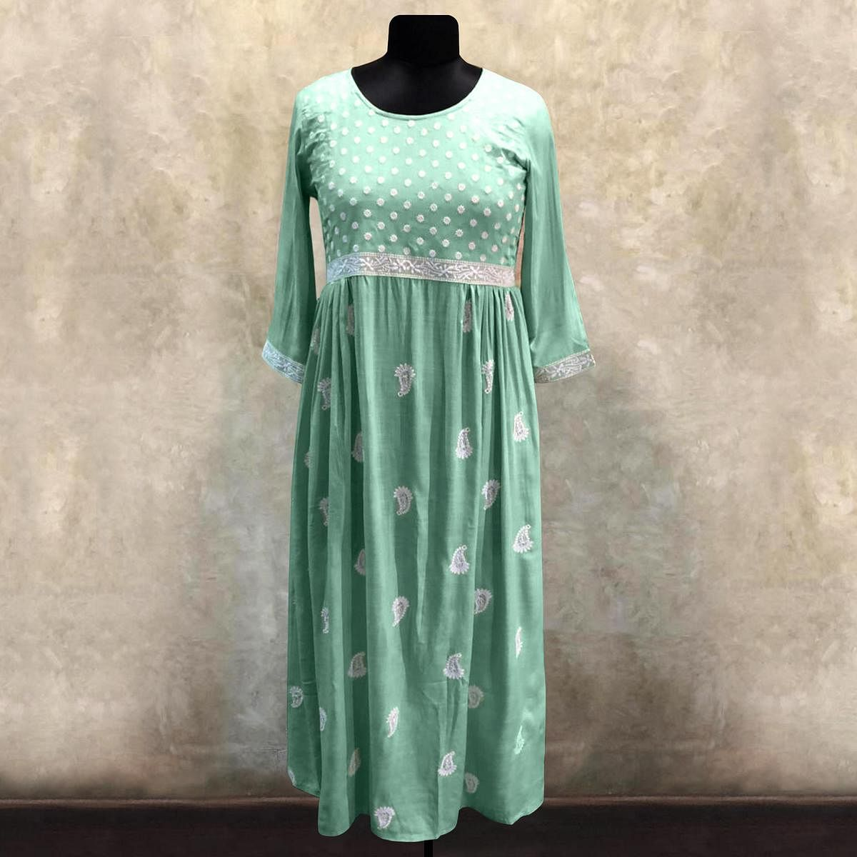 Desirable Aqua Green Colored Partywear Embroidered Cotton Long Kurti