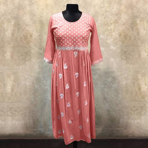 Exotic Peach Colored Partywear Embroidered Cotton Long Kurti