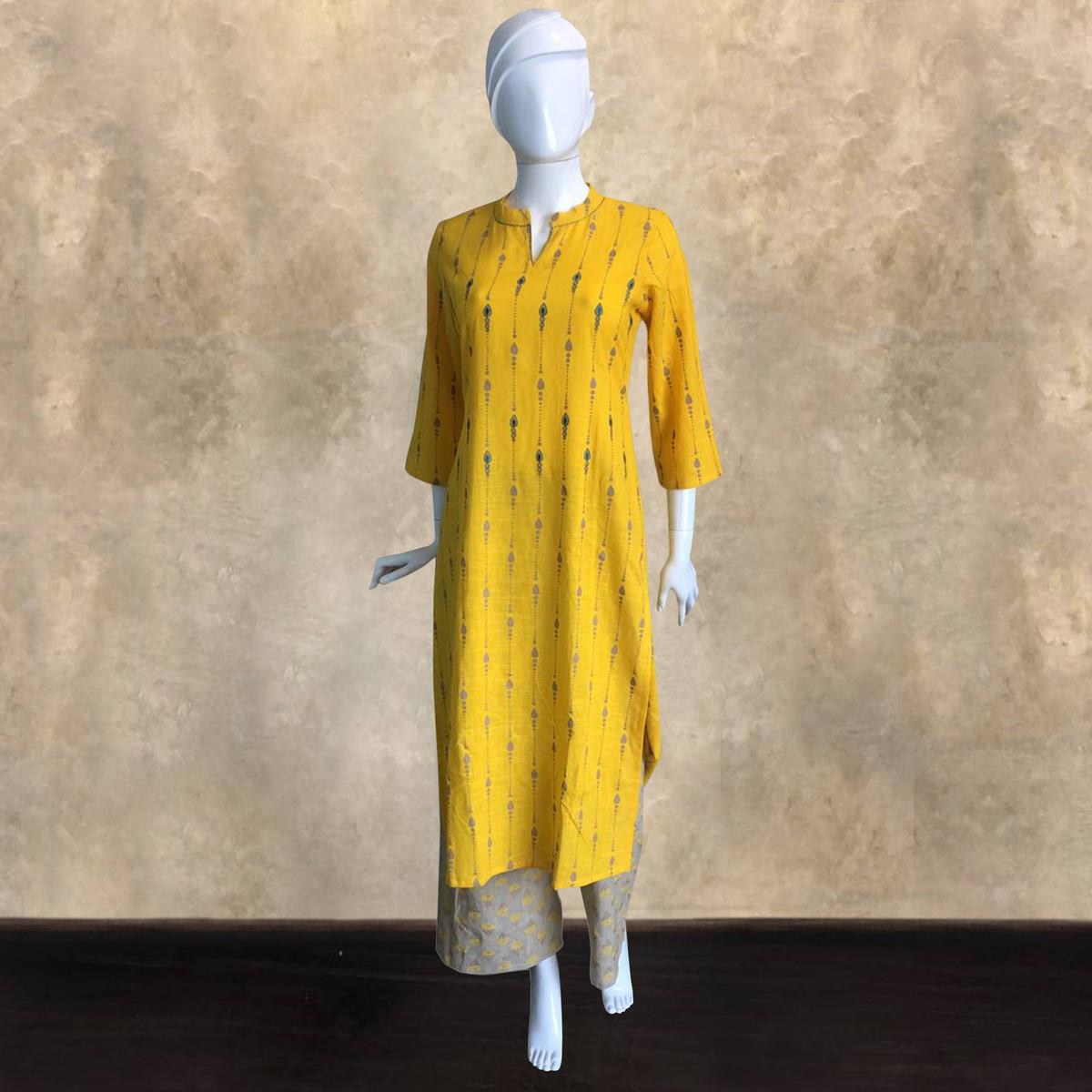 Sophisticated Yellow Colored Casual Printed Kurti-Palazzo Set