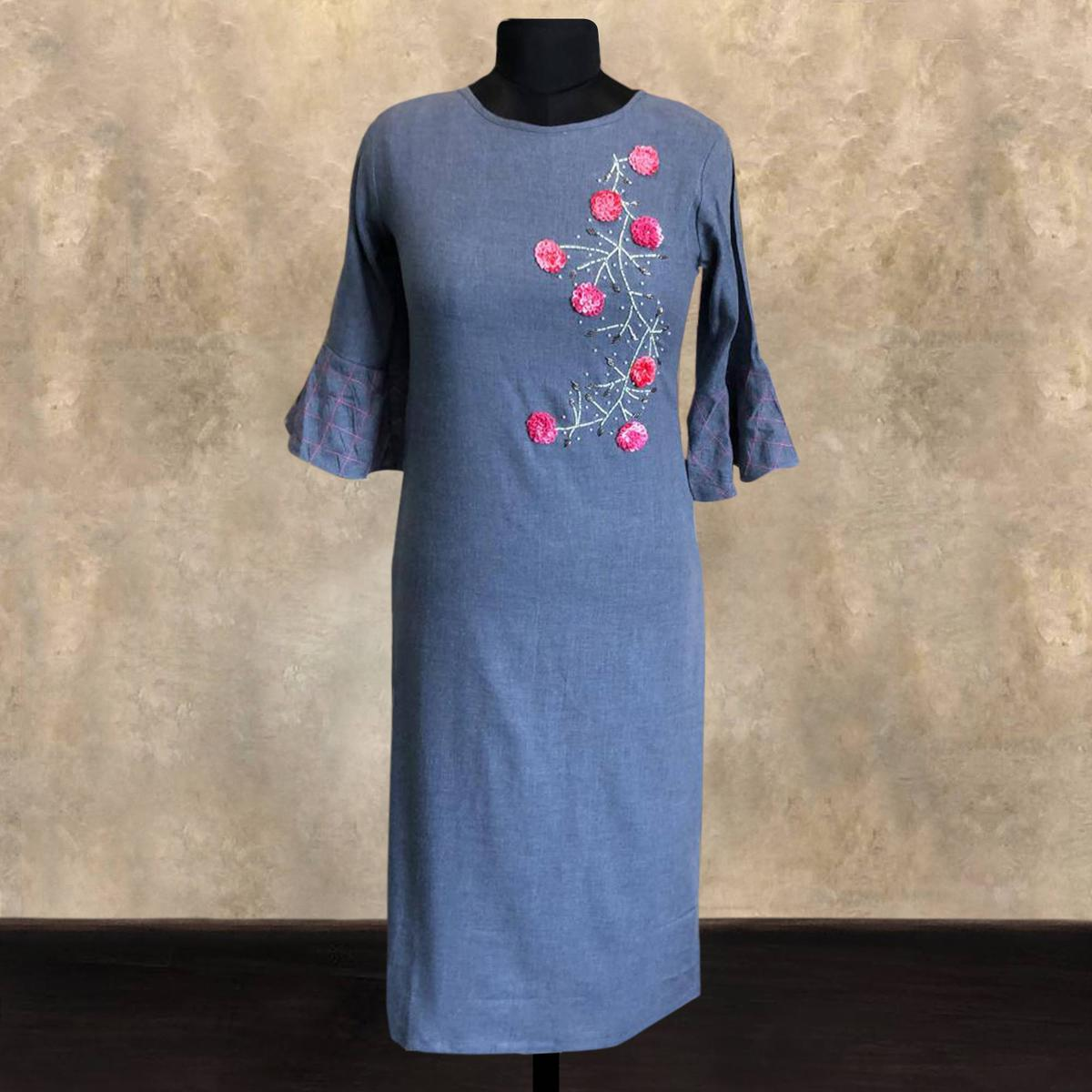 Radiant Blue Colored Partywear Embroidered Cotton Long Kurti