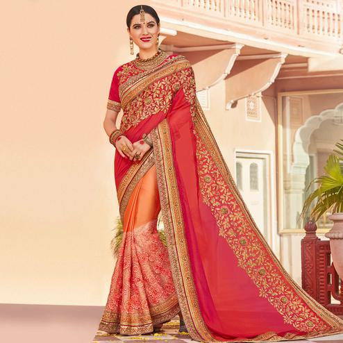 Mesmeric Red-Peach Colored Partywear Embroidered Heavy Georgette Half-Half Saree