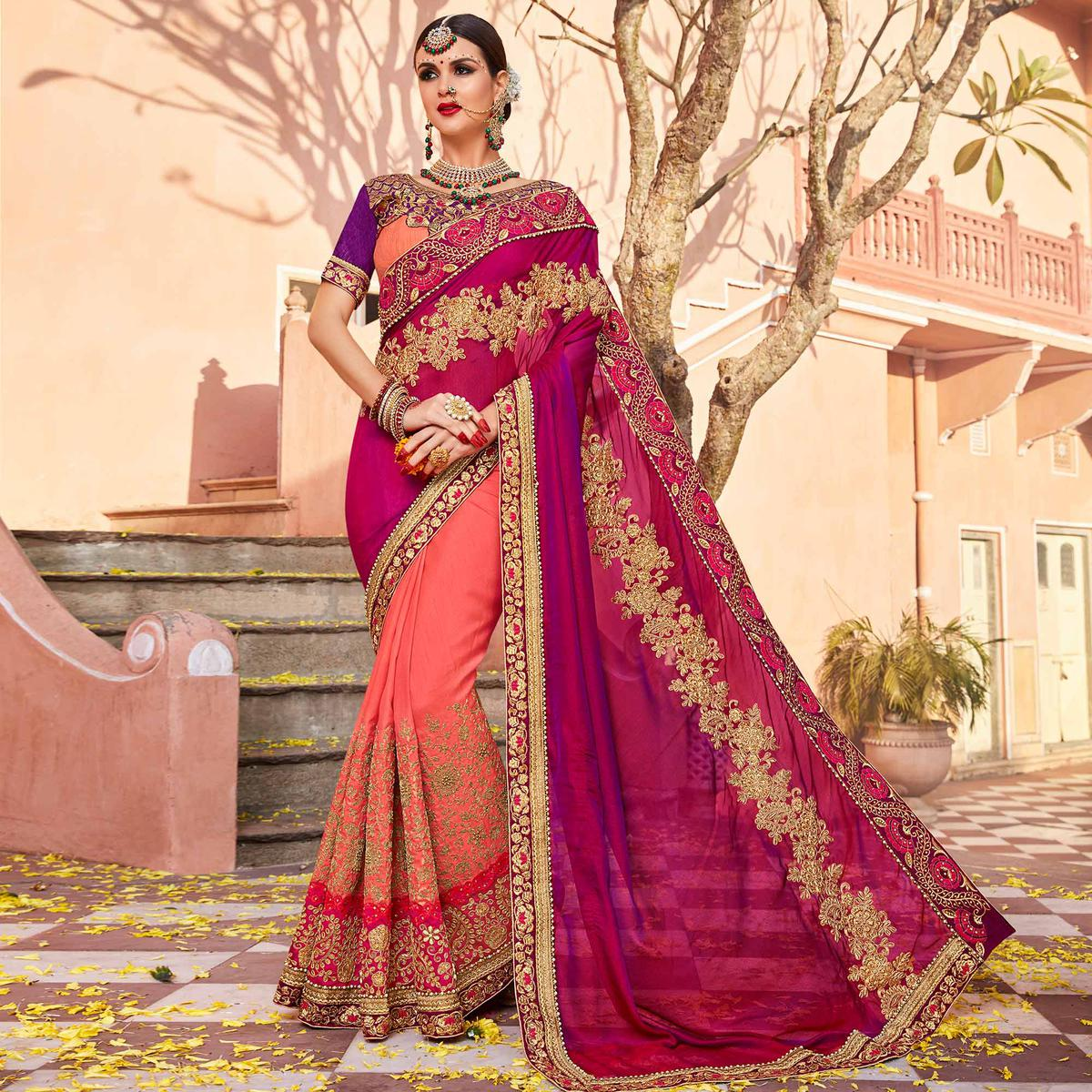 Refreshing Pink Colored Partywear Embroidered Heavy Georgette Half-Half Saree