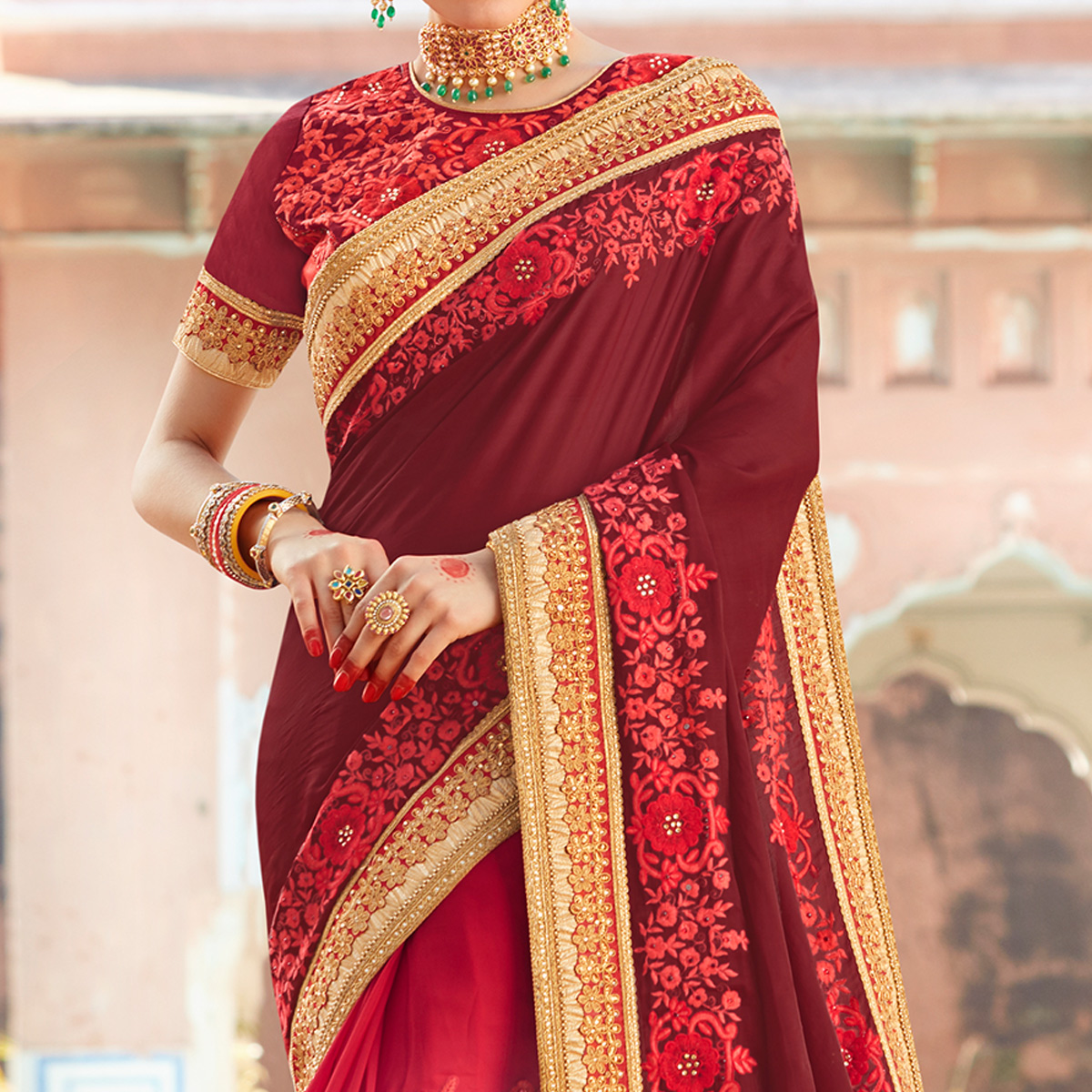 Flattering Maroon-Red Colored Partywear Embroidered Heavy Georgette Half-Half Saree