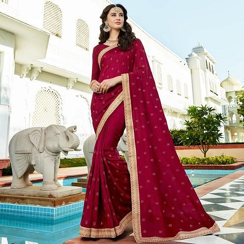Magical Magenta Pink Colored Party Wear Embroidered Georgette Saree