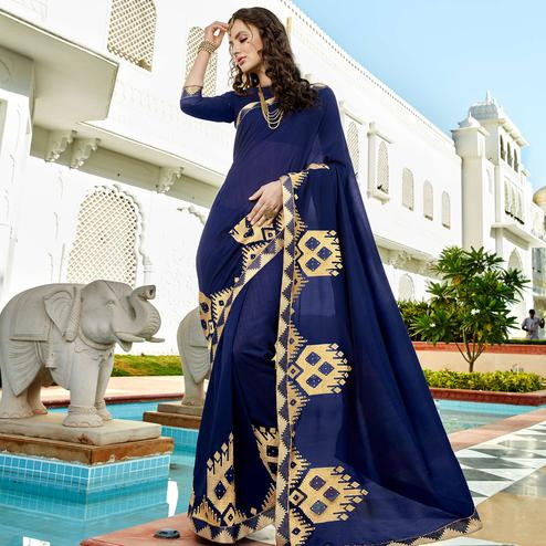 Adorable Navy-Blue Colored Party Wear Embroidered Georgette Saree