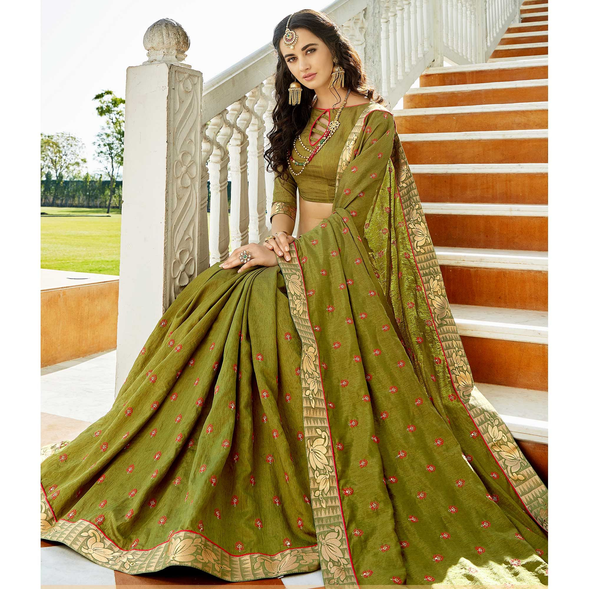 Attractive Olive Green Colored Party Wear Embroidered Georgette Saree