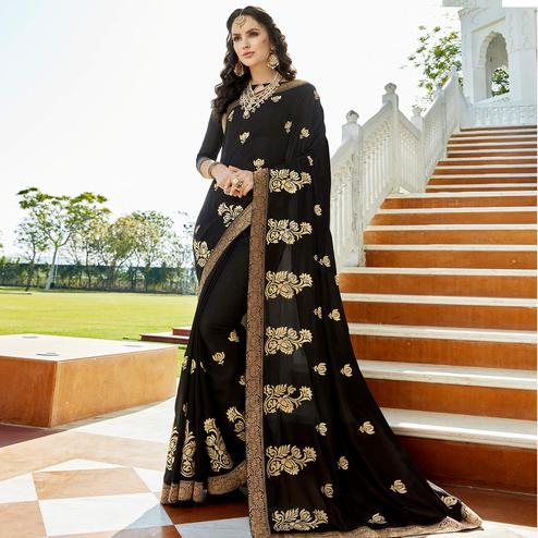 Bold Black Colored Party Wear Embroidered Georgette Saree