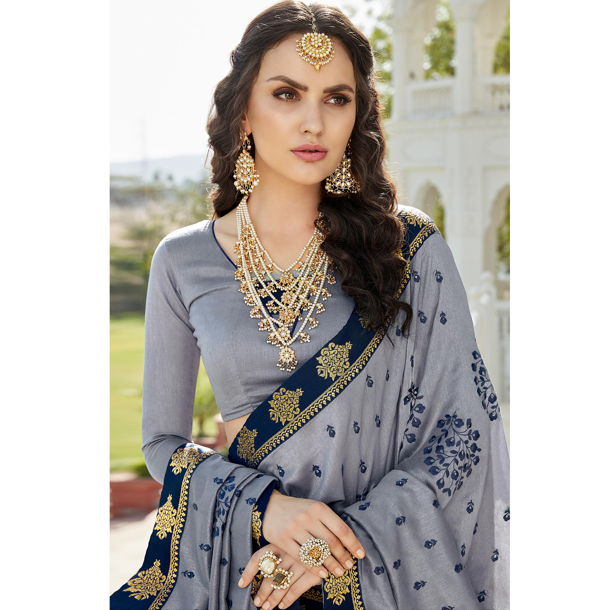 Pretty Gray Colored Party Wear Embroidered Georgette Saree