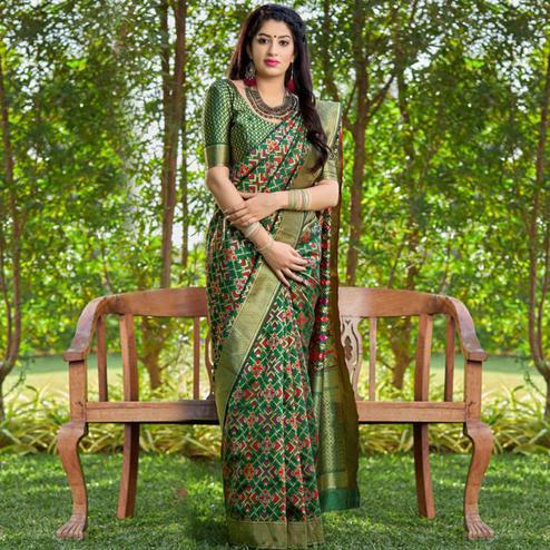 Preferable Green Colored Festive Wear Woven Banarasi Silk Saree