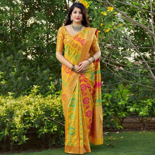 Flamboyant Yellow Colored Festive Wear Woven Banarasi Silk Saree