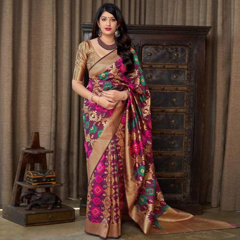 Pretty Purple Colored Festive Wear Woven Banarasi Silk Saree