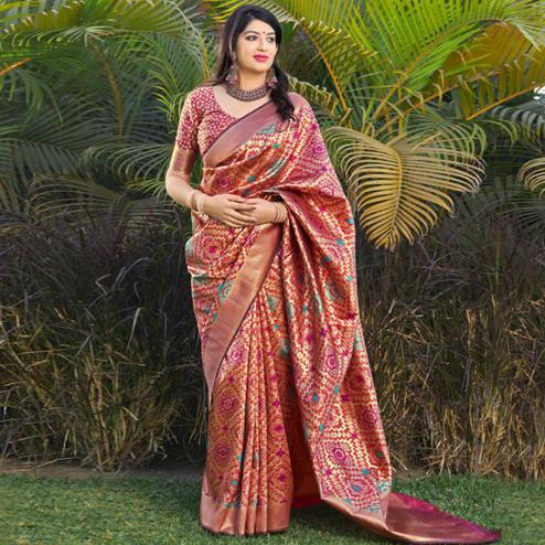 Stunning Golden-Pink Colored Festive Wear Woven Banarasi Silk Saree