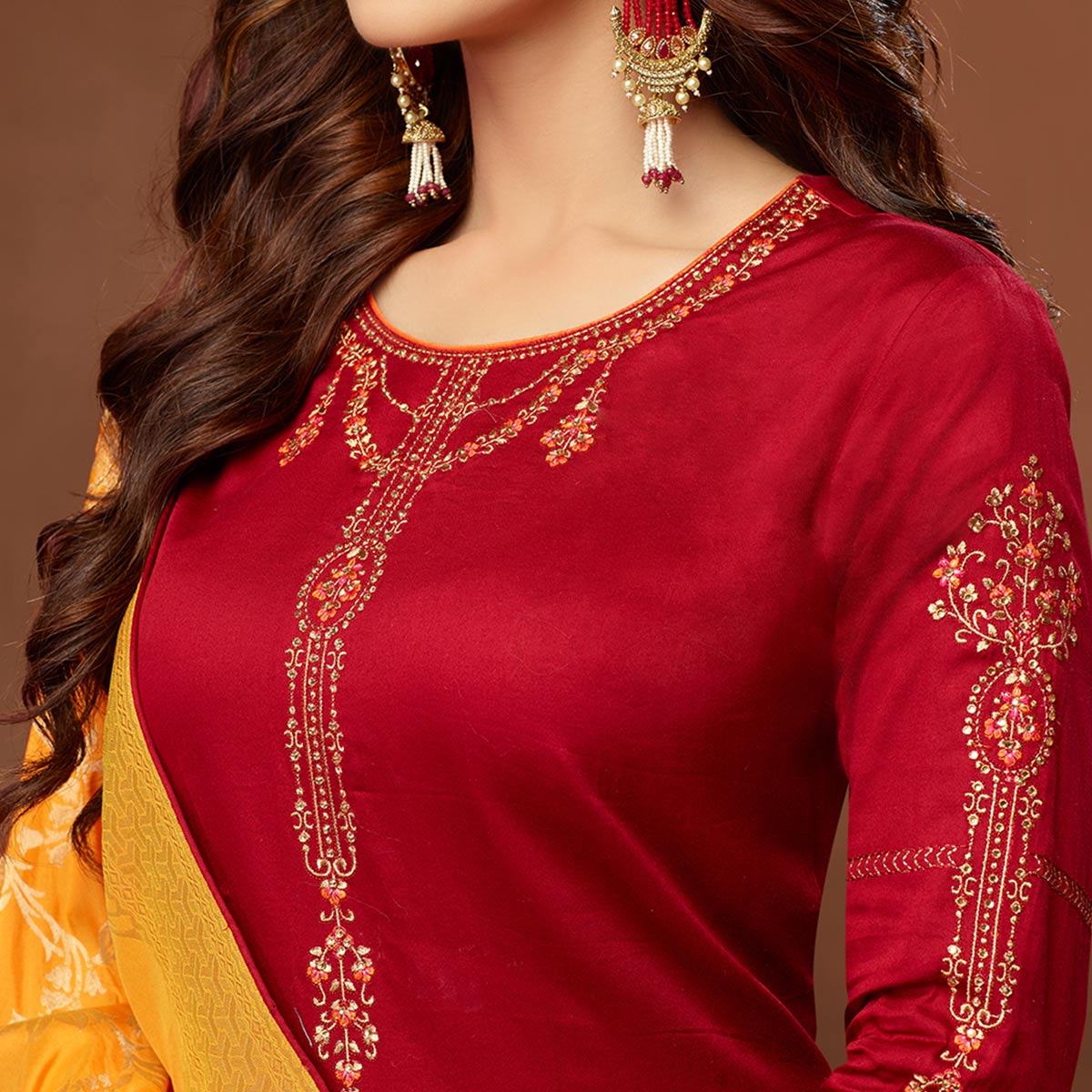 Trendy Red Colored Partywear Embroidered Pure Cotton Dress Material