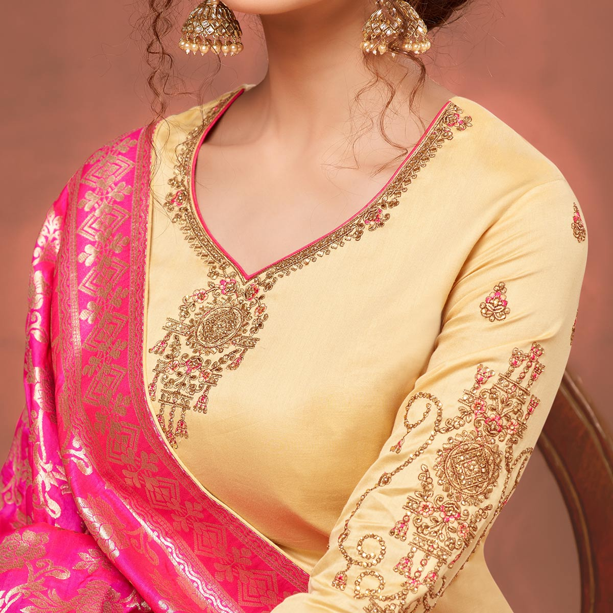 Elegant Beige Colored Partywear Embroidered Pure Cotton Dress Material