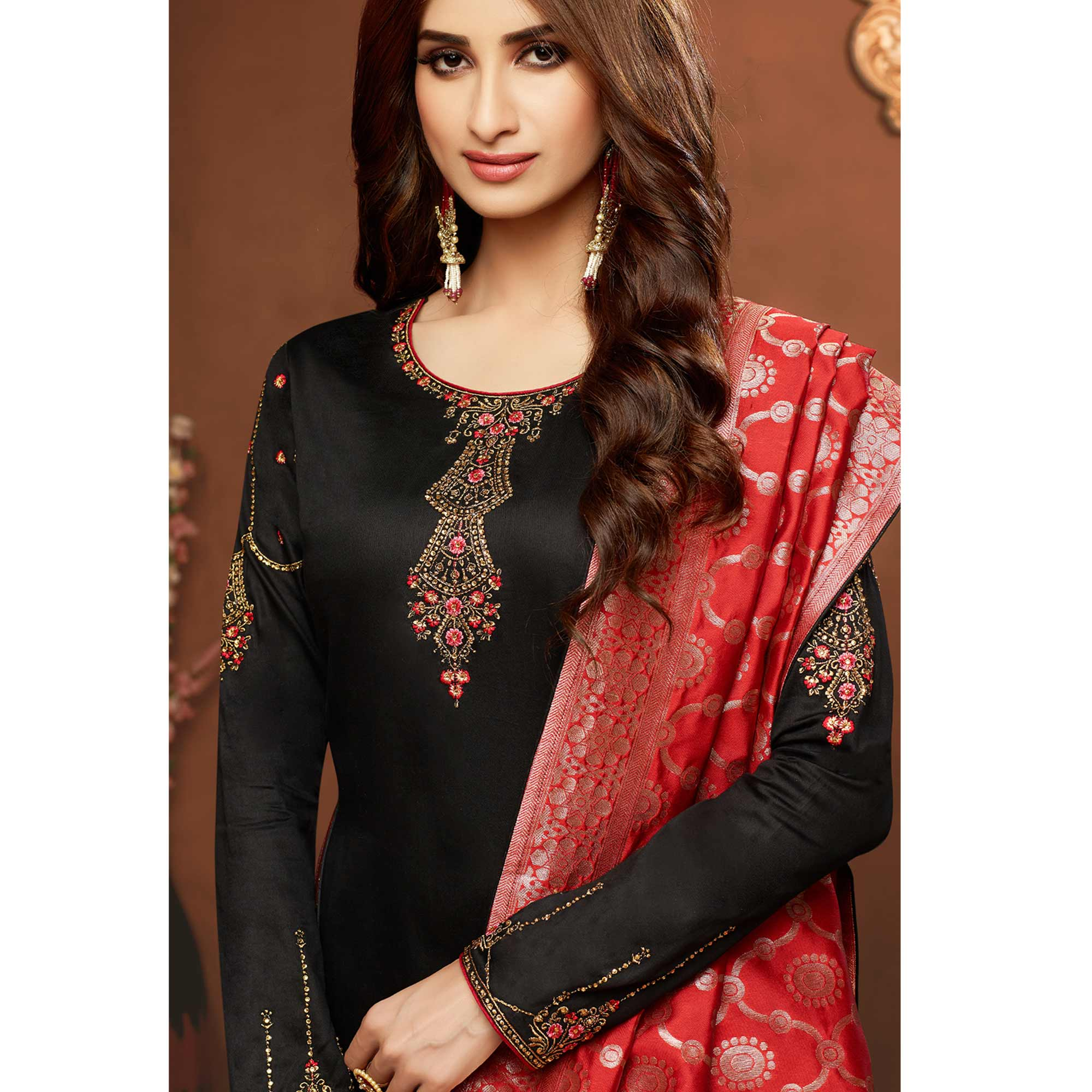 Radiant Black Colored Partywear Embroidered Pure Cotton Dress Material