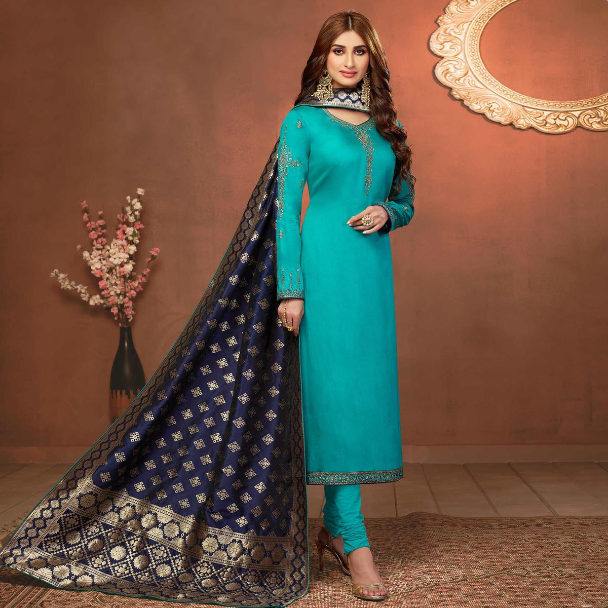 Pleasant Sky Blue Colored Partywear Embroidered Pure Cotton Dress Material