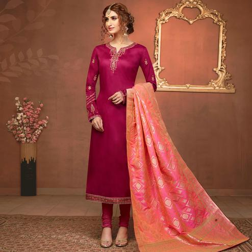Opulent Pink Colored Partywear Embroidered Pure Cotton Dress Material