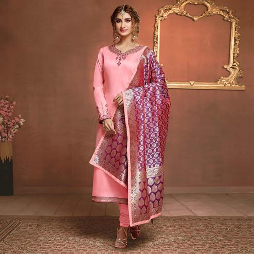 Glowing Light Pink Colored Partywear Embroidered Pure Cotton Dress Material
