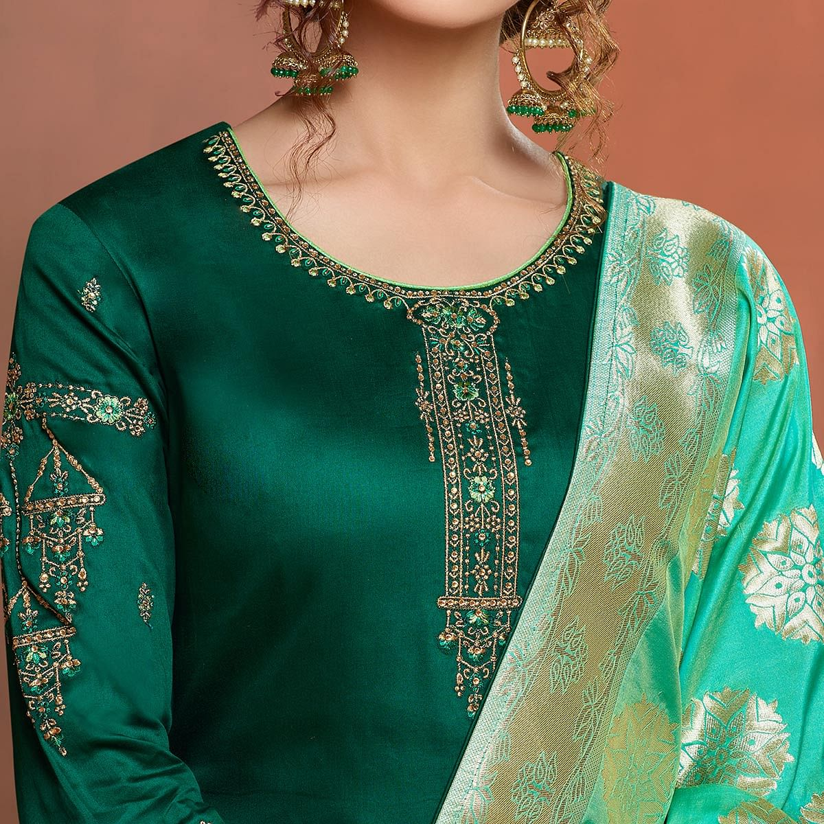 Exceptional Green Colored Partywear Embroidered Pure Cotton Dress Material