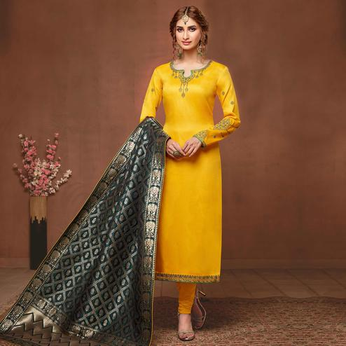 Gleaming Yellow Colored Partywear Embroidered Pure Cotton Dress Material