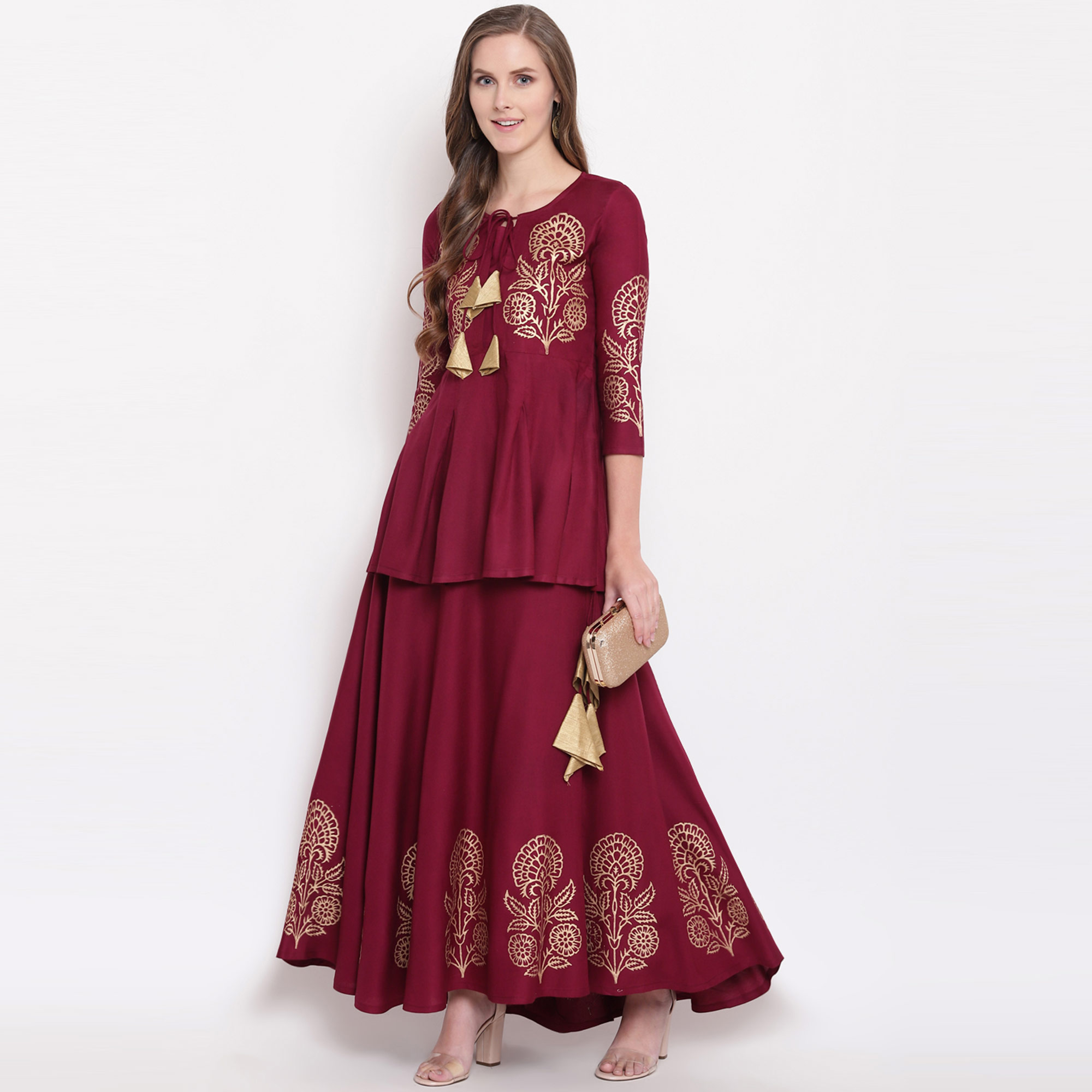 Fantastic Wine Colored Partywear Foil Printed Rayon Short Kurti-Skirt Set