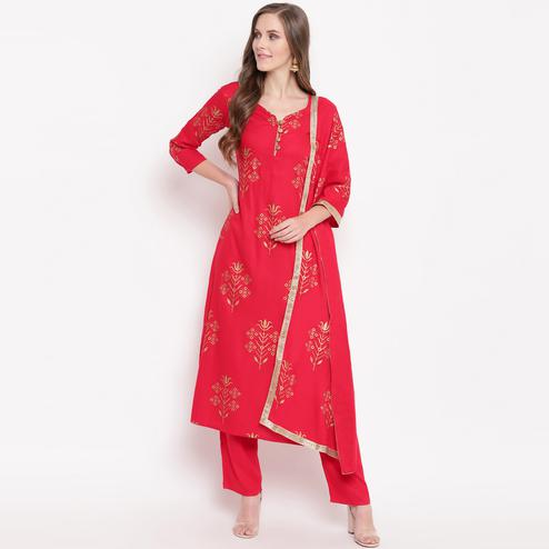 Gorgeous Red Colored Casual Foil Printed Rayon Kurti-Bottom Suit