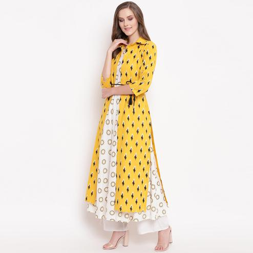 Ideal White-Yellow Colored Partywear Printed Cotton Kurti-Jacket Set