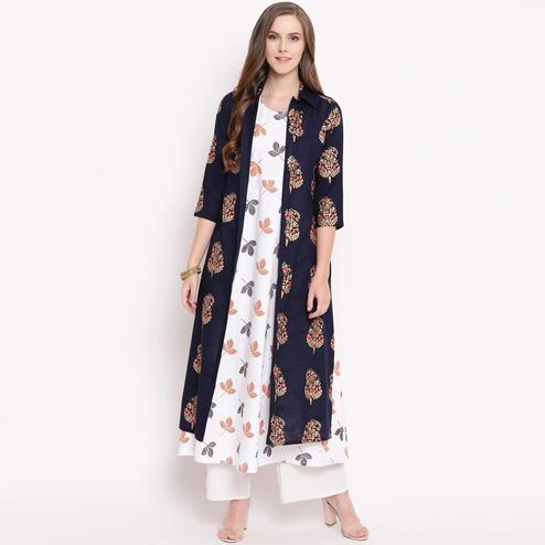 Imposing White-Navy Blue Colored Casual Printed Cotton Kurti-Jacket Set