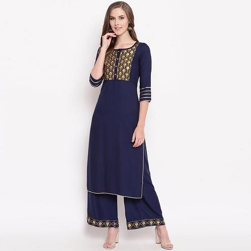 Impressive Navy Blue Colored Partywear Embroidered Rayon Kurti-Palazzo Set