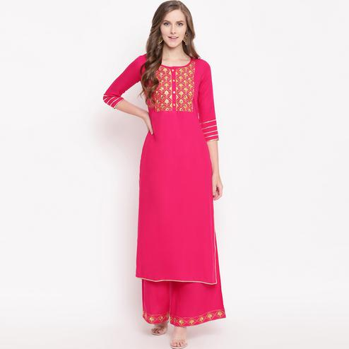 Mesmerising Pink Colored Partywear Embroidered Rayon Kurti-Palazzo Set