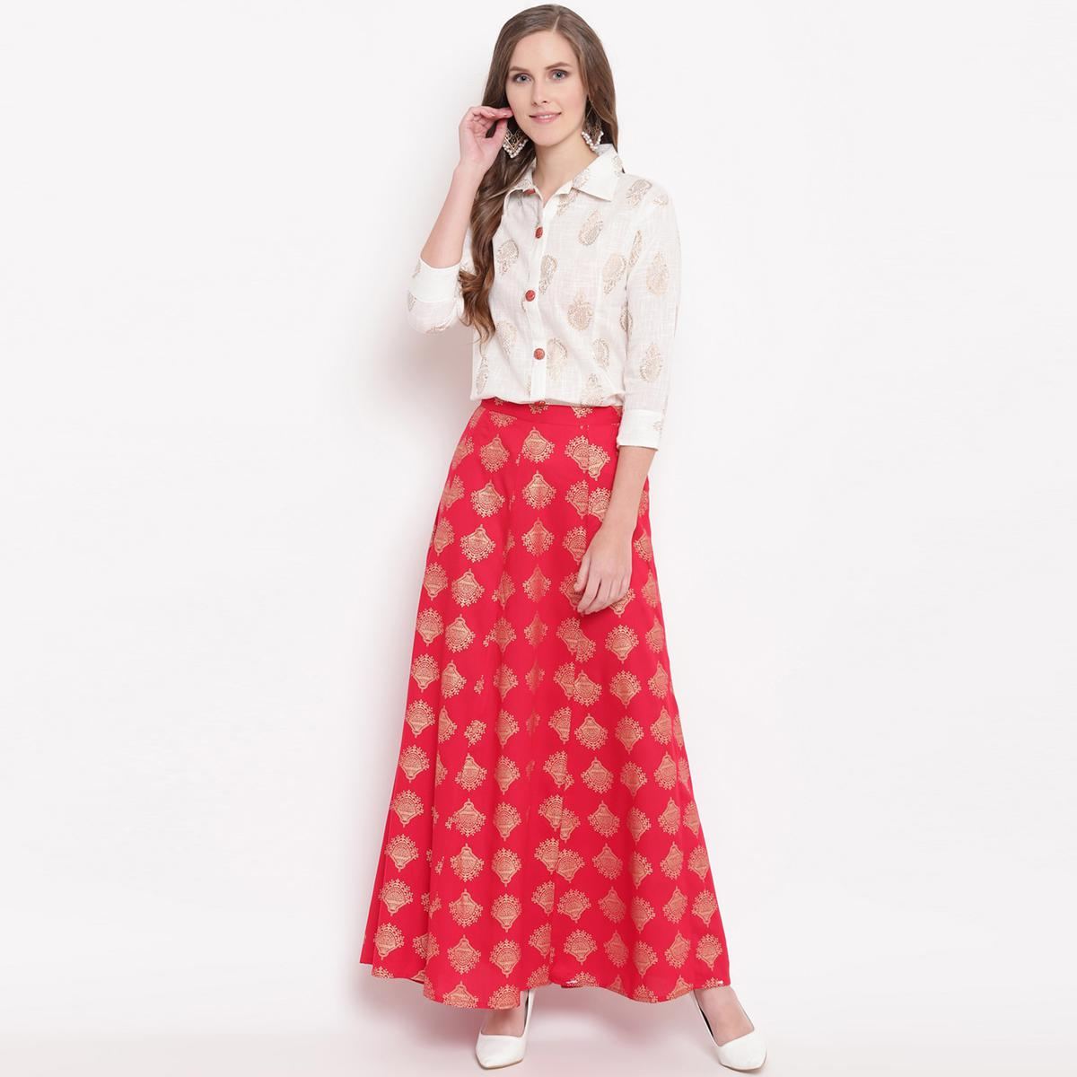 Pleasance White-Red Colored Partywear Foil Printed Cotton Shirt-Skirt Set